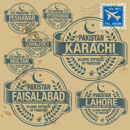 Grunge rubber stamp set with names of Pakistan cities Vector
