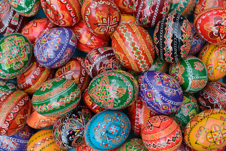 VILNIUS, LITHUANIA - MARCH 7  Hand painted colorful Easter eggs in annual traditional crafts fair - Kaziuko fair on Mar 7, 2014 in Vilnius, Lithuania