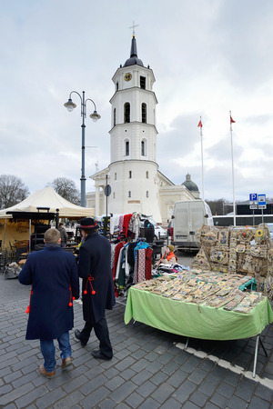 tradespeople: VILNIUS, LITHUANIA - MARCH 7  Unidentified people in annual traditional crafts fair - Kaziuko fair on Mar 7, 2014 in Vilnius, Lithuania Editorial