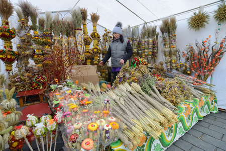 VILNIUS, LITHUANIA - MARCH 7  Unidentified people trade traditional palm bouquets in annual traditional crafts fair - Kaziuko fair on Mar 7, 2014 in Vilnius, Lithuania