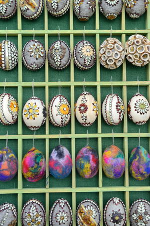 VILNIUS, LITHUANIA - MARCH 8  Hand painted colorful Easter eggs in annual traditional crafts fair - Kaziuko fair on Mar 8, 2014 in Vilnius, Lithuania