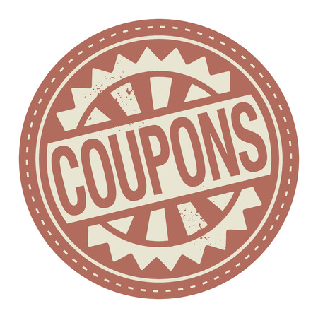 Abstract stamp or label with the text Coupons written inside Illustration