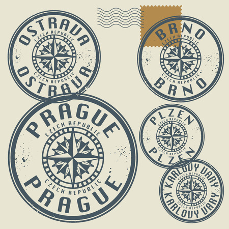 lille: Grunge rubber stamp set with names of Czech Republic cities Illustration