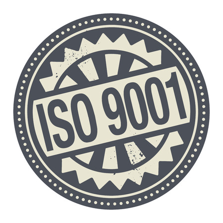 Abstract stamp or label with the text ISO 9001 written inside Vector