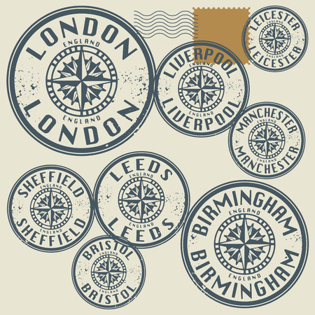 leeds: Grunge rubber stamp set with names of England cities