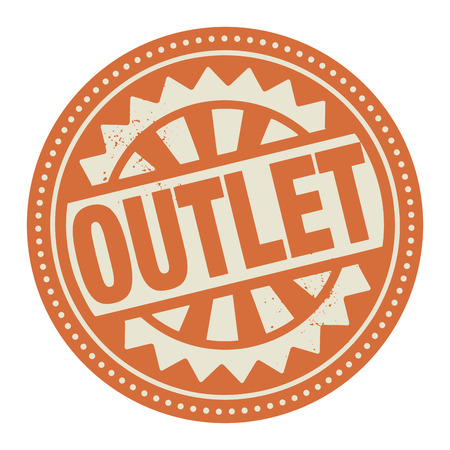 outlet: Abstract stamp or label with the text Outlet written inside