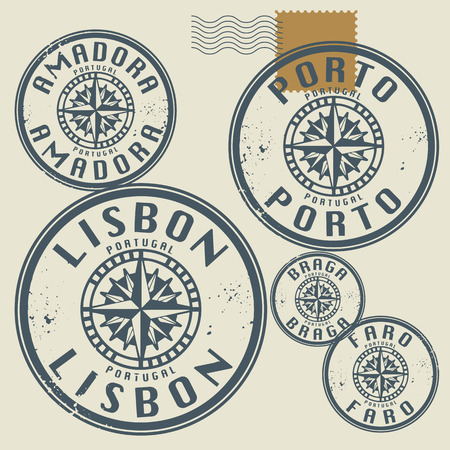 lille: Grunge rubber stamp set with names of Portugal cities Illustration