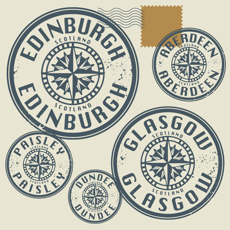 Grunge rubber stamp set with names of Scotland cities Vector