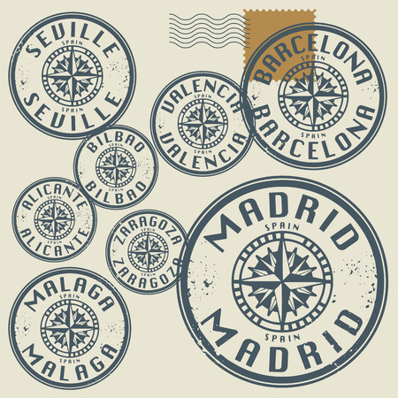 Grunge rubber stamp set with names of Spain cities Vector
