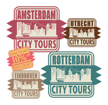 Grunge rubber stamp set with names of Netherlands cities Vector