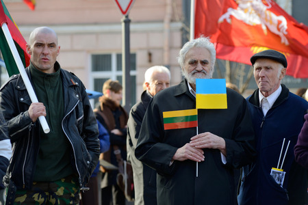 nationalist: VILNIUS, LITHUANIA - MAR 11  Around one thousand people gathered with flags in a nationalist rally at Rotuses Square on Re-Establishment of Independence Day on March 11, 2014 in Vilnius, Lithuania