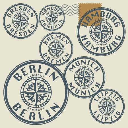 Grunge rubber stamp set with names of Germany cities Vector