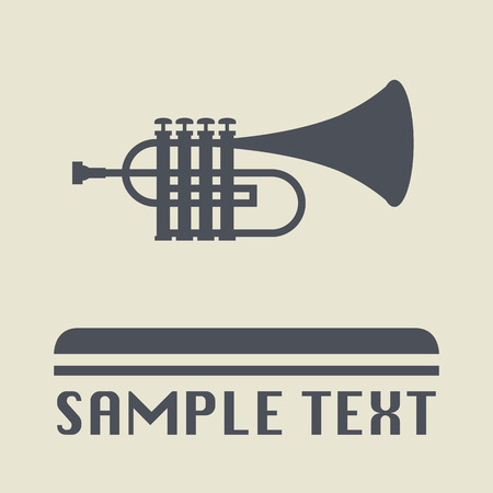 clarinet player: Trumpet icon or sign Illustration