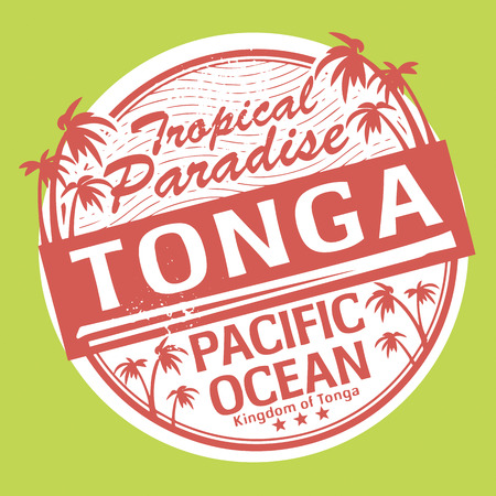 Grunge rubber stamp or label with the name of Tonga Vector