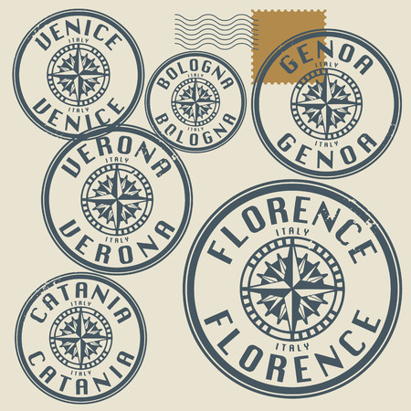 stamp passport: Grunge rubber stamp set with names of Italy cities