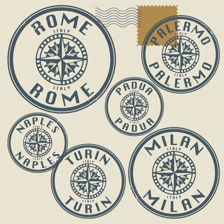 Grunge rubber stamp set with names of Italy cities Vector