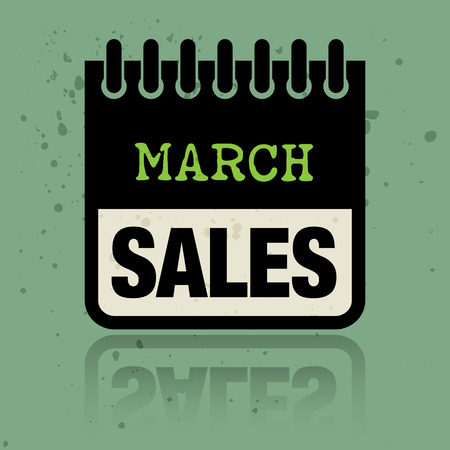 Calendar label with the words March Sales written inside Vector