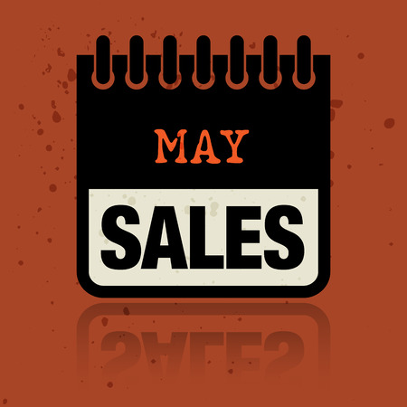 Calendar label with the words May Sales written inside Vector