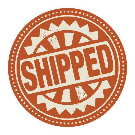 transferred: Abstract stamp or label with the text Shipped written inside Illustration