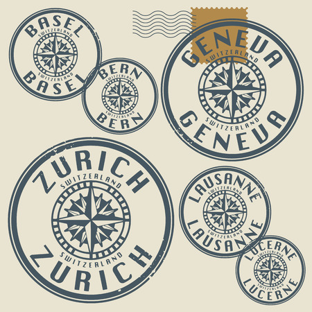 Grunge rubber stamp set with names of Switzerland cities Vector