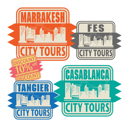 passport stamp: Grunge rubber stamp set with names of Morocco cities