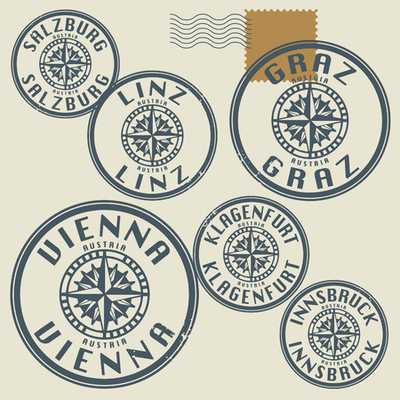 Grunge rubber stamp set with names of Austria cities Vector
