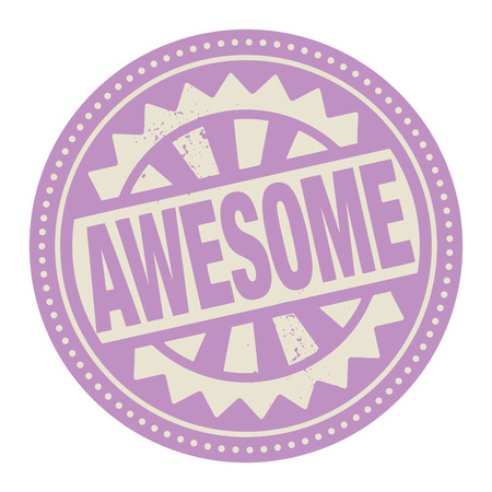 Abstract stamp or label with the text Awesome written inside Vector