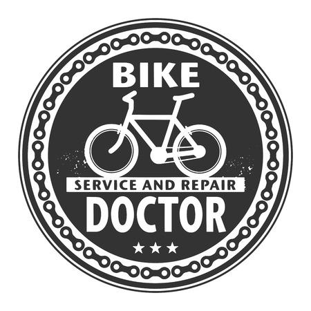 Etiket of stempel met tekst Bike Doctor, service en reparatie