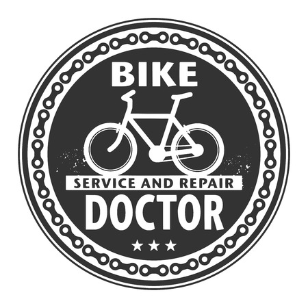 Label or stamp with text Bike Doctor, Service and Repair Vector