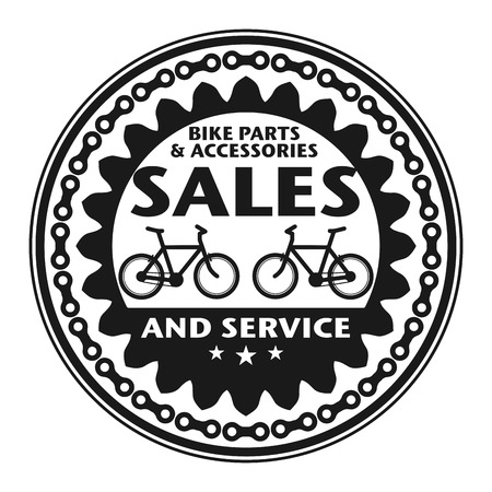 Label or stamp with text Bike Sales and Service Vector