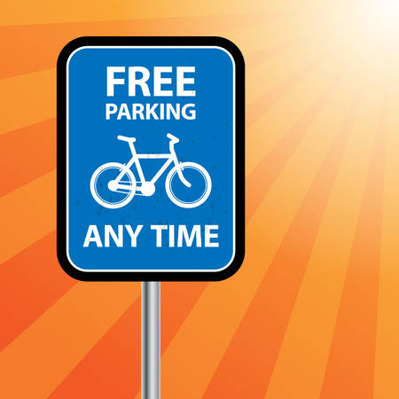 Road sign with bicycle and text Free Parking Vector
