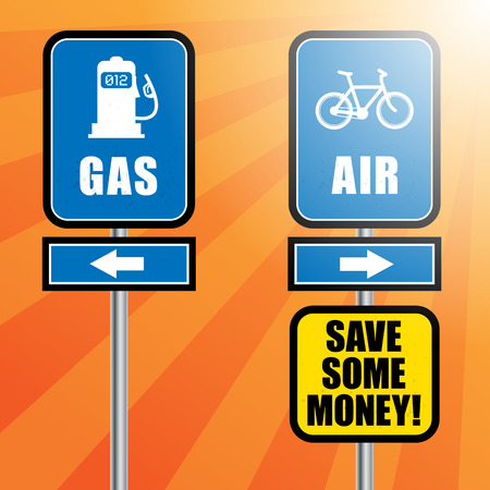 Road signs with bicycle, gas station symbol and text Gas and Air Vector
