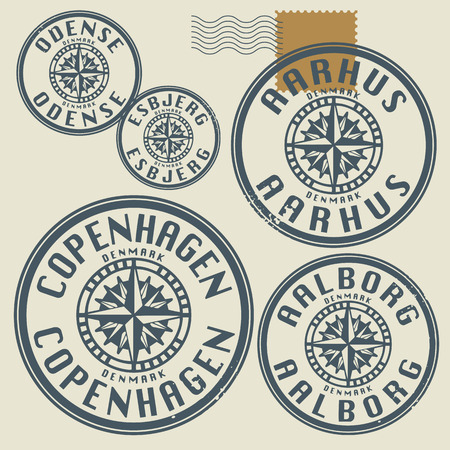 Grunge rubber stamp set with names of Denmark cities Vector
