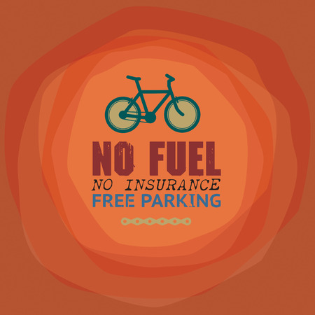 Label or poster with bicycle and text No Fuel, No Insurance, Free Parking Vector