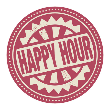 Abstract stamp or label with the text Happy Hour written inside Vector