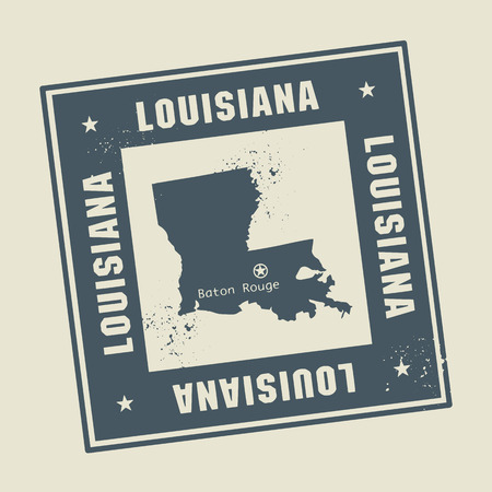 louisiana: Grunge rubber stamp with name and map of Louisiana, USA