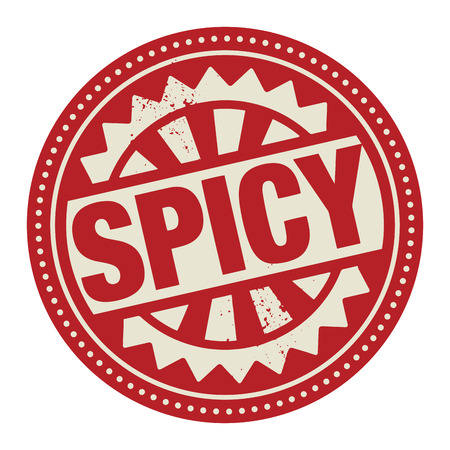 thai pepper: Abstract stamp or label with the text Spicy written inside Illustration