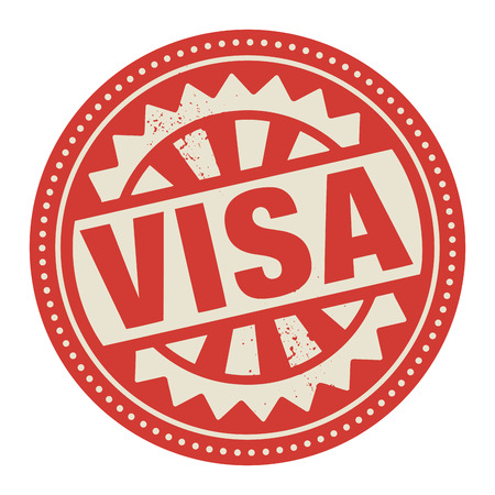 Abstract stamp or label with the text Visa written inside Vector