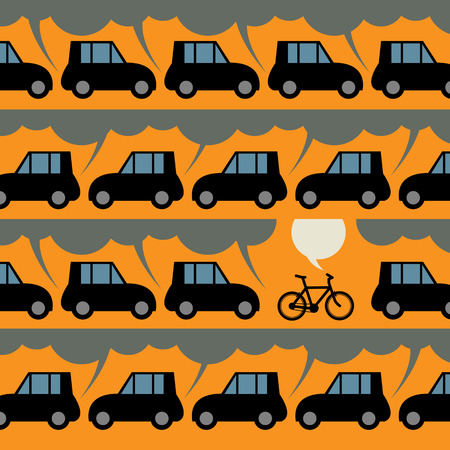 Label or poster with bicycle and traffic Vector