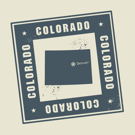 Grunge rubber stamp with name and map of Colorado, USA Vector
