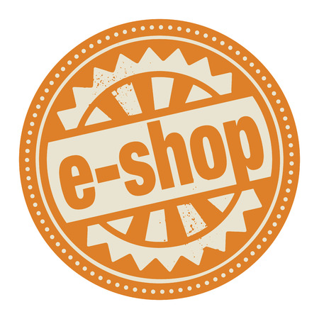 e auction: Abstract stamp or label with the text E-shop written inside