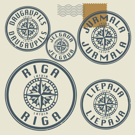 Grunge rubber stamp set with names of Latvia cities Vector