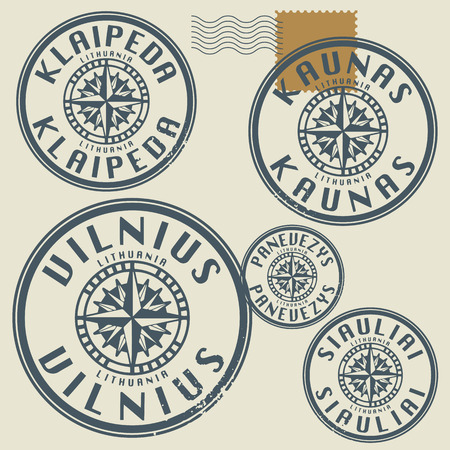 baltic sea: Grunge rubber stamp set with names of Lithuania cities
