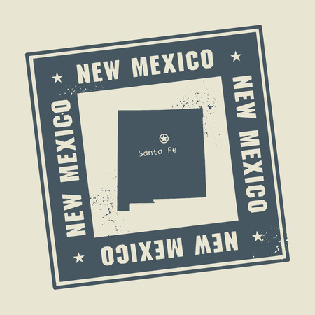 albuquerque: Grunge rubber stamp with name and map of New Mexico, USA
