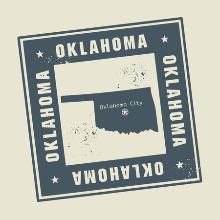 oklahoma: Grunge rubber stamp with name and map of Oklahoma, USA