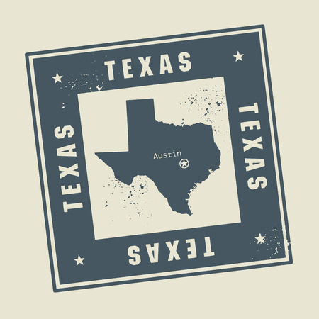 Grunge rubber stamp with name and map of Texas, USA Vector