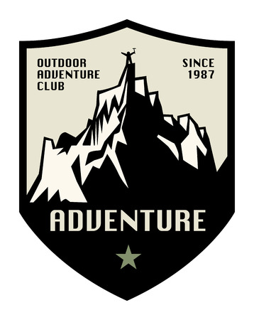 ice climbing: Mountain adventure label or sign