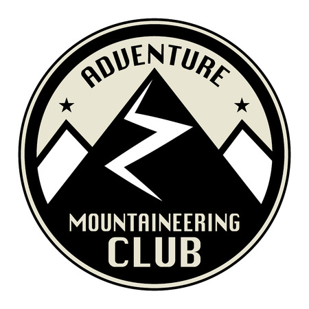 natural ice pastime: Mountain adventure club icon or sign