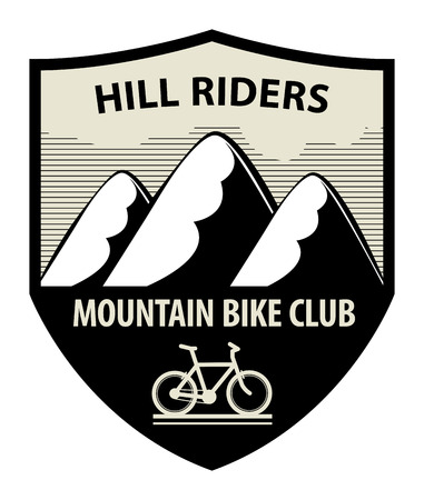 natural ice pastime: Mountain bike club icon or sign