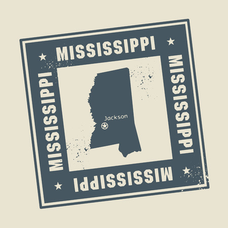 mississippi: Grunge rubber stamp with name and map of Mississippi, USA